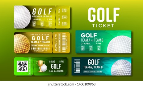 Stylish Design Tickets Visit Golf Game Set Vector. Collection Of Colorful Tickets Coupons For National Competition Decorated Playing Ball, Barcodes And Venue Details. Realistic 3d Illustration