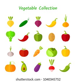 Stylish design vegetable isolated icon set. Vector illustration with symbol of onion, eggplant, cabbage, pepper and other vegetables in fresh colors for healthy diet nutrition infographic.
