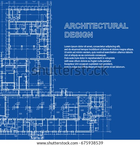 Stylish Detailed Architectural Plan Vector Building Blueprint Modern Abstract Background