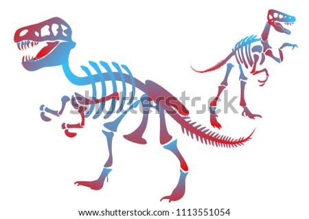 Stylish Dinosaur Bones Skeleton Dinosaurs Velociraptor Stock Vector