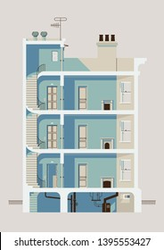 Stylish downtown residential three story building cross section illustration with stairwell, elevator, apartment room interiors with windows and fireplaces, roof access, chimneys and basement