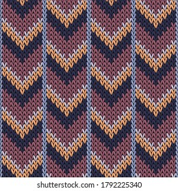 Stylish downward arrow lines knitted texture geometric vector seamless. Jacquard stockinet ornament. Winter seamless knitted pattern. Abstract xmas wallpaper.