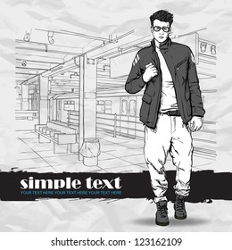 Stylish dude at subway station.  Place for your text. Vector illustration