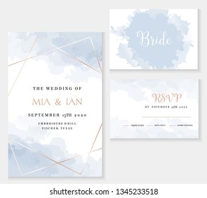 Stylish dusty blue and gold geometric vector design cards. Set of golden line art cards. Winter wedding invitation. Snow or ice texture. Watercolor splash style. All elements are isolated and editable
