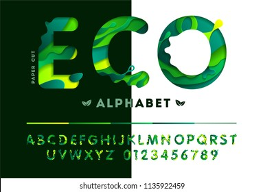 Stylish eco alphabet from colorful carved paper cut elements shapes. Vector illustration