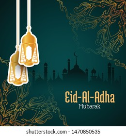 Stylish Eid Al Adha Mubarak vector background