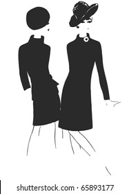 Stylish Fashion - 2 vintage fashion silhouettes from 60s