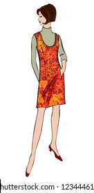 Stylish fashion dressed girls (1950's 1960's style): Retro fashion party. vintage fashion silhouettes from 60s. Vector illustration of a stylized fashionable girl .