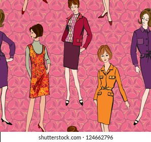 Stylish fashion dressed girls (1950's 1960's style) seamless background: Retro fashion party. vintage fashion silhouettes from 60s.