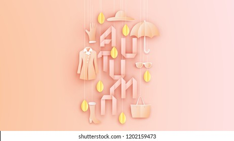 Stylish fashion set of woman's in autumn and calligraphy of AUTUMN. Autumn pastel color background for women. paper cut and craft design. vector, illustration.