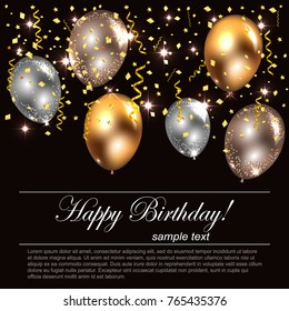 Stylish Festive Banner with Realistic Glossy Balloons in Gold & Silver Colors with Sparkling Stars & Confetti on Night Background. Vector Illustration
