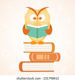 Stylish flat beautiful and cute owl sitting on of books and reads