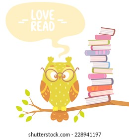 Stylish flat card with beautiful and funny owl and books with place for text
