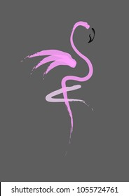 Stylish flat design flamingo Icon. Vector silhouette of flamingo. Logo design for the company. isolated or grey background