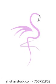 Stylish flat design flamingo Icon. Vector silhouette of flamingo. Logo design for the company. isolated