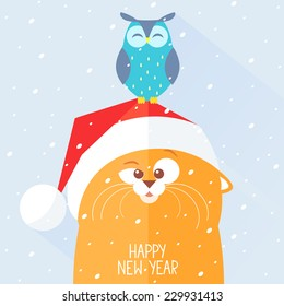stylish flat new year card with funny and cute cat and owl