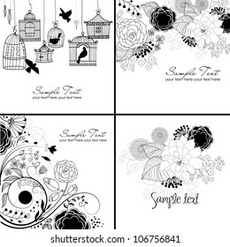 Stylish floral background in black and white colors