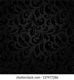 Stylish floral pattern. Black texture. A seamless vector background.