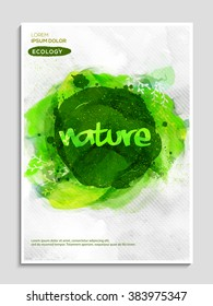 Stylish Flyer, Banner or Pamphlet with creative green color paint stroke for Save Nature concept.