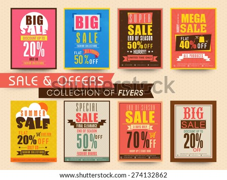 stylish flyers collection sale discount offer stock vector royalty