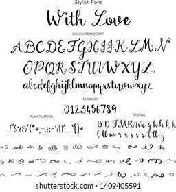 Stylish Font, Hand drawn vector alphabet. Modern calligraphic font. Brush painted abc with ligatures.