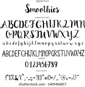 Stylish Font, Hand drawn vector alphabet. Modern calligraphic font. Brush painted abc