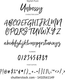 Stylish fonts. Hand drawn vector alphabet. Modern calligraphic font. Brush painted abc