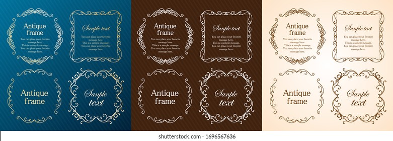 Stylish frame design set, gorgeous borders, antique lines