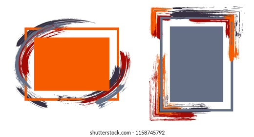 Stylish frames with paint brush strokes vector collection. Box borders with painted brushstrokes backgrounds. Educational graphics design empty frame templates for banners, flyers, posters, cards.