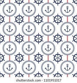 Stylish fresh seamless pattern with anchors, steering wheels and stripes. Excellent illustration for printing on clothing, fabric, paper, wallpaper and other surfaces.
