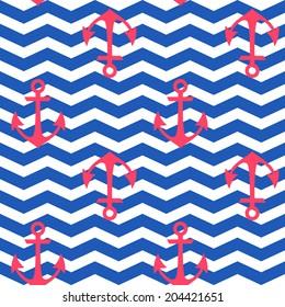 Stylish geometric seamless nautical pattern with anchors silhouettes on zigzag wavy background
