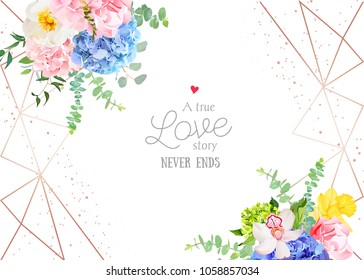 Stylish geometric wedding vector design frame with flowers. Modern invitation. Wild rose, hydrangea, daffodil, carnation, orchid, eucalyptus. Gold line art. All elements are isolated and editable