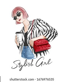 stylish girl slogan with girl in stripe jacket holding coffee cup illustration