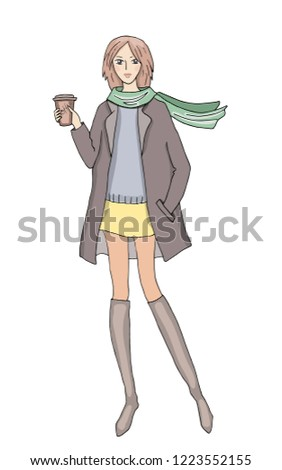c55f1abf9b Stylish Girl Winter Fashion Clothes Cup Stock Vector (Royalty Free ...