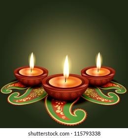 stylish glowing diwali diya background