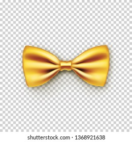 19073f6c02ae Stylish gold bow tie from satin with shadow. Hipster accessory isolated on  transparent background. Realistic yellow bow isolated on white ...
