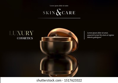 Stylish gold cosmetic template for ads, flyer or banner. Realistic 3d black and gold cosmetic jar for skin care cream. Makeup magazine template with hair care products. Luxury cosmetic products brand