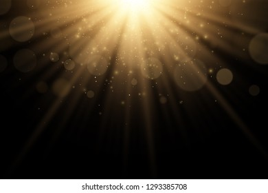 Stylish gold light effect isolated on a black background. Golden rays. Bright explosion. Flying golden magical dust. Sunlight. Abstract lights bokeh. Vector illustration. EPS 10