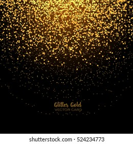 Stylish golden glitter round confetti on black vector background. Shining gold shimmer luxury square design card. Glowing snow for Christmas.