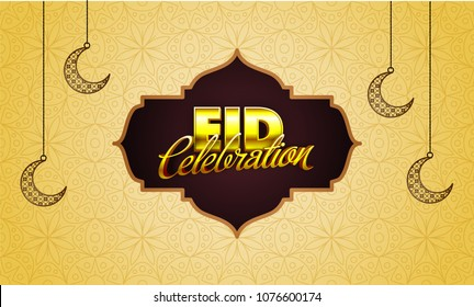 Stylish golden text Eid Mubarak with hanging moons on doodle design decorated beige background.