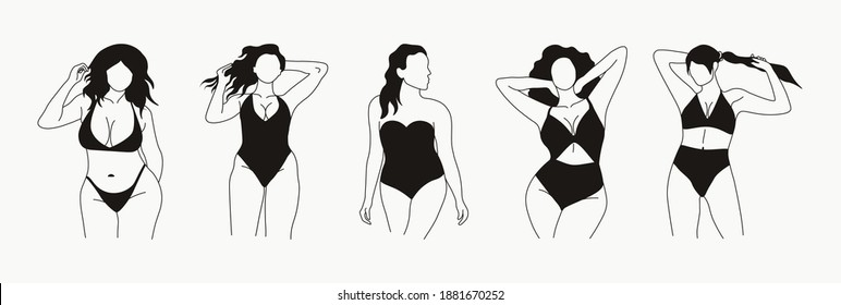 Stylish graceful faceless lady. Abstract curvy girls. Hand drawn outline graphic icons, female logos. Black vector trendy fashion illustration