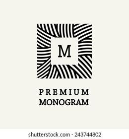 Stylish and graceful floral monogram design , Elegant line art logo design, vector template