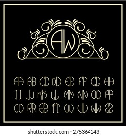 Stylish and graceful floral monogram design , Elegant line art logo design in Victorian Style
