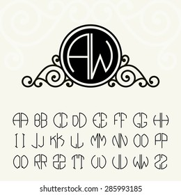 Stylish and graceful floral monogram design and Set  template letters to create monograms of two letters in scribed in a circle in Art Nouveau style