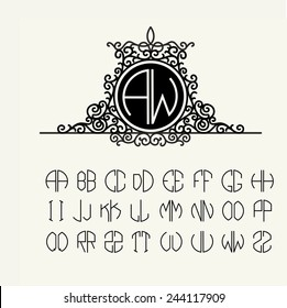Stylish  graceful monogram , Elegant line art logo design in Victorian Style