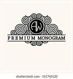 Stylish  graceful monogram , Elegant line art logo design in Art Nouveau style