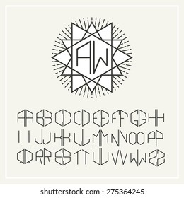 Stylish  graceful monogram , Elegant line art logo design in Art Nouveau Style and Set  template letters to create monograms of two letters