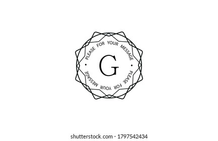 Stylish graceful monogram template with letter G. Elegant black logo design on a white background. Vector illustration of cafe, office, restaurant, business.