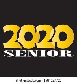 Stilvolles Design für den Druck auf T-Shirts, Bademäntel. Vektorillustration-Illustration von College, Schulabschluss Logo für Feiertagsfeier oder Feier. Ein Absolvent der Senior 2020 geschriebenen Farbverlauf-Gold.
