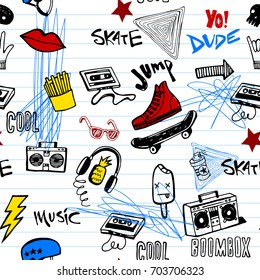 Stylish graphic seamless background in youth style of hipsters or emo teens doodles